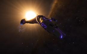 Картинка космос, свет, звезда, Космический корабль, Elite: Dangerous