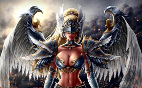 Картинка Девушка, Доспехи, Girl, Воин, Шлем, Крылья, Fantasy, Mythology, Beautiful, Женщина, Warrior, Фантастика, Fiction, Woman, Illustration, …