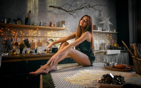 Картинка Девушка, кухня, ножки, мука, Алина Сабирова, Игорь Маринкин