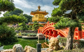 Картинка деревья, природа, пруд, камни, Гонконг, Китай, пагода, мостик, павильон, парк-сад, Нан Лиан