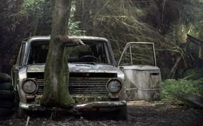 Картинка машина, дерево, лом