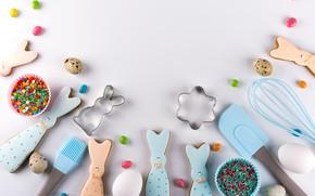 Картинка праздник, яйца, печенье, пасха, фигурки
