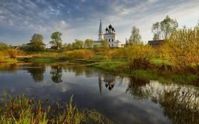 Картинка пейзаж, природа, башня, церковь, храм, травы, берега, колокольня, речушка, Максим Евдокимов
