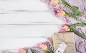 Картинка праздник, подарок, тюльпаны, композиция, tulip, gift box, День матери