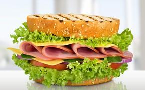Картинка сыр, бутерброд, салат, тосты, ветчина