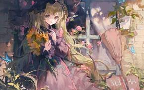 Картинка бабочки, подсолнухи, девочка, метла, у окна, большие глаза, миленькая, розовое платье, длинные белые волосы, летний …