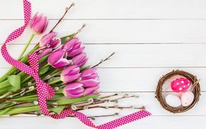 Картинка цветы, лента, тюльпаны, wood, flowers, tulips, spring, purple, eggs, easter, ribbon