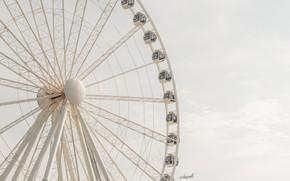 Картинка белый, небо, колесо обозрения, самолёт, атракцион