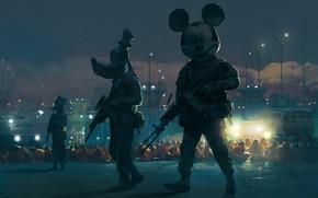 Картинка Оружие, Арт, Микки Маус, Mickey Mouse, Mickey, Illustration, Гуфи, Goofy, Дональд Дак, Donald Duck, Ситуация, …