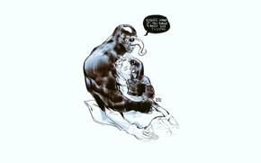Картинка фон, человек, минимализм, арт, спит, пульт, мужчина, Веном, Venom, симбиот, Эдди Брок