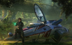 Картинка лес, шлем, пилот, аппарат, Greenish