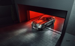 Картинка Авто, Ночь, Машина, Серый, Гараж, Автомобиль, Mercedes-Benz AMG, Transport & Vehicles, Mercedes-Benz AMG GT C ...