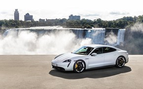 Картинка водопад, Porsche, Turbo S, 2020, Taycan
