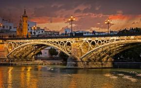 Картинка река, арка, Испания, Севилья, мост Изабеллы II