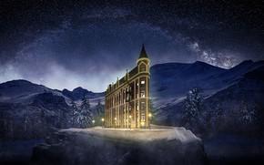Картинка небо, звезды, горы, здание, sky, mountains, stars, building, Jackson Carvalho