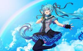 Картинка Облака, Девушка, Радуга, Арт, Hatsune Miku, Vocaloid, Вокалоид, Хатсуне Мику, matsuda toki