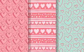 Картинка фон, розовый, узор, сердечки, Бесшовный