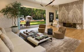 Картинка дизайн, стиль, интерьер, камин, терраса, гостиная, Beverly Hills home