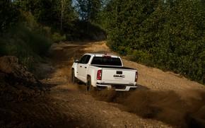 Картинка дорога, пыль, пикап, подъём, грунт, GMC, Crew Cab, Canyon, AT4, 2020, 2021, Off-Road Performance Edition