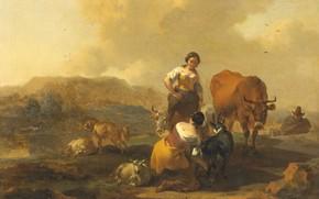 Картинка животные, масло, картина, Николас Питерс Берхем, Итальянский пейзаж, Nicolaes Pietersz Berchem, 1683