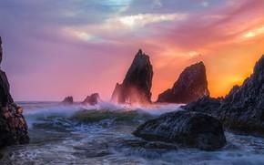Картинка волны, небо, закат, океан, скалы