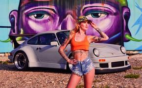 Картинка авто, взгляд, граффити, Девушки, Porsche, красивая девушка, позирует на фоне машины, Vanessa Knauf