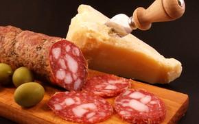 Картинка сыр, оливки, колбаса