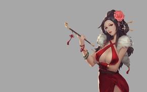 Картинка Girl, Fantasy, Art, Style, Background, Minimalism, Dress, Figure, Character, Smoking Pipe, Jie Zhu