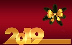 Картинка Новый Год, хвоя, бантик, 2019