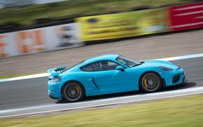 Картинка Porsche, Скорость, Cayman, GT4, 2019, Porsche 718 (982) Cayman GT4