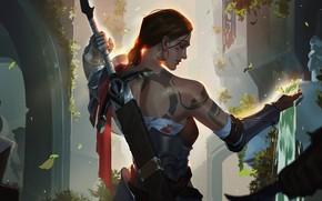 Картинка girl, sword, fantasy, weapon, waterfall, tattoo, artist, digital art, artwork, warrior, fantasy art, fantasy girl, …