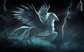 Картинка Конь, Крылья, Молнии, Арт, Art, Фантастика, Fiction, Pegasus, Wings, Пегас, Horse, White Horse, Миф, Тулпар, …