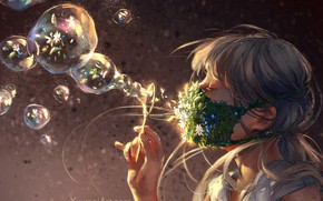 Картинка рука, ромашки, мыльные пузыри, девочка, незабудки, челка, в профиль, радужные, by Yuumei, медицинская маска