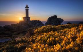 Картинка Malpica de Bergantiños, Barizo, море, Galicia, маяк, закат