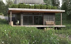 Картинка трава, дрова, строение, мотороллер, the house in the wood