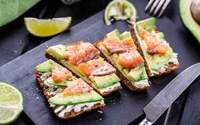 Картинка рыба, лайм, авокадо, бутерброды