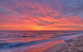 Картинка море, небо, закат, берег, Валерий Наумов