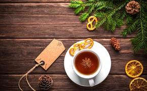 Картинка чай, елка, печенье, Новый год, Christmas, шишки, New Year