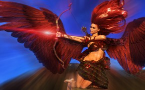 Картинка девушка, фентези, крылья, ангел, лук, стрела, стрелец