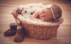 Картинка игрушка, сон, мышка, спит, девочка, мех, корзинка