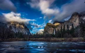 Картинка лес, вода, облака, пейзаж, горы, природа, водопад, США, Йосемити, национальный парк, заповедник, Yosemite National Park