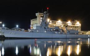 Картинка ночь, огни, военный корабль