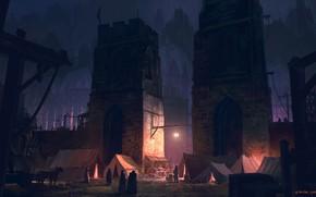 Картинка City, fantasy, tower, cathedral, night, walls, people, artwork, fantasy art, lantern, door, medieval, illustration, tents, …