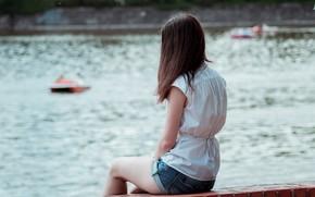 Картинка Девушка, водоем, катамараны