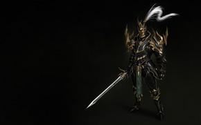 Картинка Fantasy, Art, Style, Warrior, Knight, Minimalism, Blade, Man, Sword, Armor, Dragon Knight, Bugeon Choi