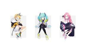 Картинка минимализм, Hatsune Miku, Vocaloid, Вокалоид, Luka Megurine, Len Kagamine