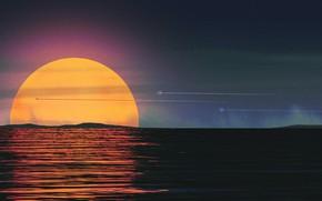 Картинка Закат, Океан, Море, Музыка, Стиль, Фон, 80s, Sun, Style, Sunset, Illustration, 80's, Synth, Retrowave, Wanderers, …