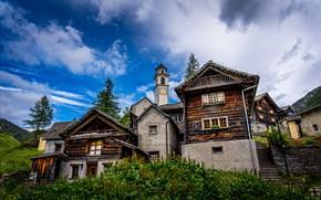 Картинка лес, небо, облака, деревья, горы, дома, Швейцария, склон, деревня, Bosco Gurin