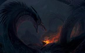 Картинка waves, fire, fantasy, sea, night, rocks, dragon, ship, artwork, fantasy art, creature, burning, Sea monster