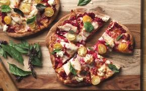 Картинка пицца, начинка, базилик